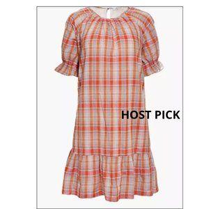MADEWELL Dress Ruffle-Sleeve Plaid Mini XL